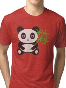 Funny cross-stitch panda Tri-blend T-Shirt