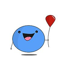 Blue Blob with a Red Balloon  Photographic Print