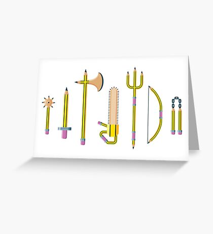 Pencil Weaponry Greeting Card