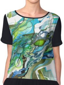 Approaching Eleven Percent From Behind  - Watercolor Painting Chiffon Top