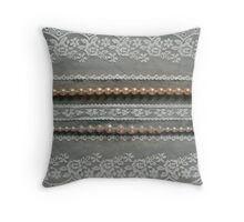 Lace & Pearls on a gray background Throw Pillow