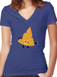 Character Fusion - Just Cheese Women's Fitted V-Neck T-Shirt