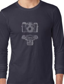 Vintage Photography - Contarex Blueprint Long Sleeve T-Shirt