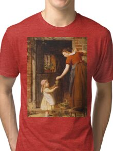 Vintage famous art - George Smith - Gathering The Grapes Tri-blend T-Shirt