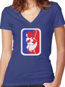 Nintendo RBI Baseball Major League MLB Logo Women's Fitted V-Neck T-Shirt