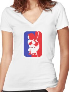 Nintendo RBI Baseball Major League MLB Logo Women's Fitted V-Neck T-Shirt