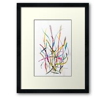 Unknown Flower 2 - Small Abstract Landscape,  watercolor, ink & pencil on paper Framed Print