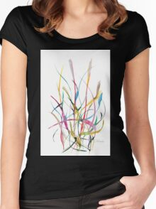 Unknown Flower 2 - Small Abstract Landscape,  watercolor, ink & pencil on paper Women's Fitted Scoop T-Shirt