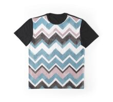 Watercolor Chevrons in Aqua, Nude, White, and Black Graphic T-Shirt