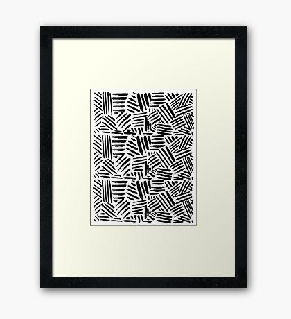 All Black - Crosshatch pattern Framed Print