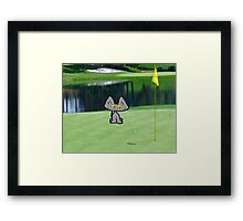 Cat  Playing Golf On The 18 Hole Framed Print