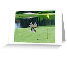 Cat  Playing Golf On The 18 Hole Greeting Card