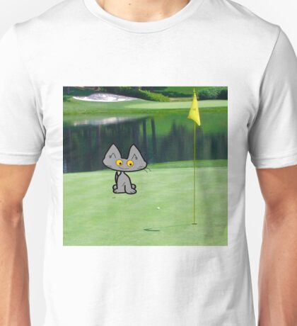 Cat  Playing Golf At The 18 Hole Unisex T-Shirt
