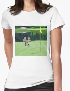 Cat  Playing Golf On The 18 Hole Womens Fitted T-Shirt