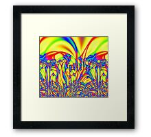 Bright Yellow Fractal Abstract Framed Print