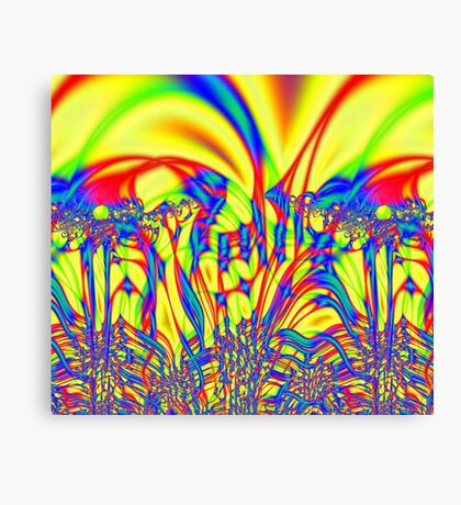 Bright Yellow Fractal Abstract Canvas Print