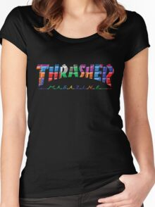 thrasher color block logo Women's Fitted Scoop T-Shirt