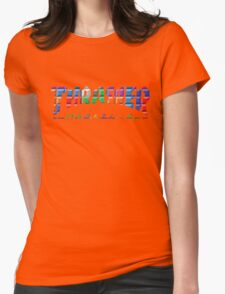 thrasher color block logo Womens Fitted T-Shirt
