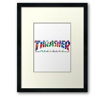 thrasher color block logo Framed Print