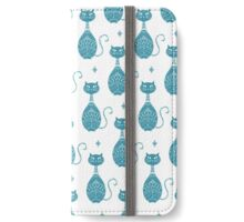 Blue Cat Pattern  iPhone Wallet/Case/Skin