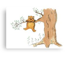 Silly bear and tree Canvas Print