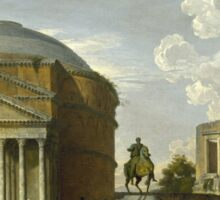 Vintage famous art - Giovanni Paolo Panini - Fantasy View With The Pantheon And Other Monuments Of Ancient Rome Sticker