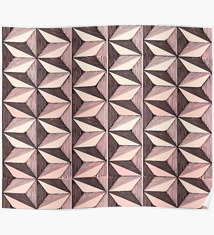 optical triangles (black and pink) Poster