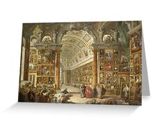 Vintage famous art - Giovanni Paolo Panini - Interior Of A Picture Gallery With The Collection Of Cardinal Silvio Valenti Gonzaga Greeting Card