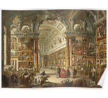 Vintage famous art - Giovanni Paolo Panini - Interior Of A Picture Gallery With The Collection Of Cardinal Silvio Valenti Gonzaga Poster