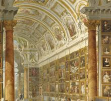 Vintage famous art - Giovanni Paolo Panini - Interior Of A Picture Gallery With The Collection Of Cardinal Silvio Valenti Gonzaga Sticker