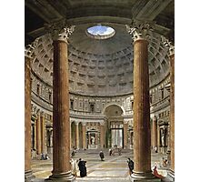Vintage famous art - Giovanni Paolo Panini - The Interior Of The Pantheon, Rome Photographic Print