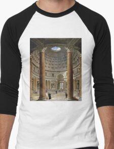 Vintage famous art - Giovanni Paolo Panini - The Interior Of The Pantheon, Rome Men's Baseball ¾ T-Shirt