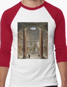 Vintage famous art - Giovanni Paolo Panini - The Interior Of The Pantheon, Rome Men's Baseball ¾ T-Shirt