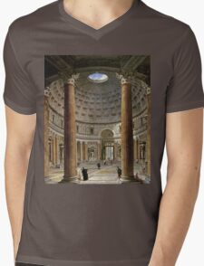 Vintage famous art - Giovanni Paolo Panini - The Interior Of The Pantheon, Rome Mens V-Neck T-Shirt