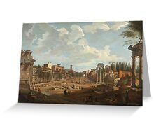 Vintage famous art - Giovanni Paolo Panini - View Of Rome Greeting Card