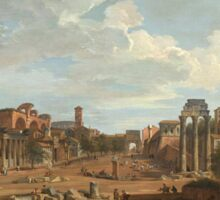 Vintage famous art - Giovanni Paolo Panini - View Of Rome Sticker