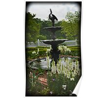 Summer Fountain with White Snapdragons Poster