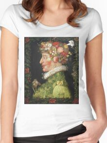 Vintage famous art - Giuseppe Arcimboldi - Spring, From A Series Depicting The Four Seasons  Women's Fitted Scoop T-Shirt