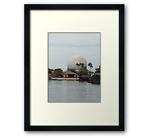 Spaceship Earth across from the lagoon Framed Print