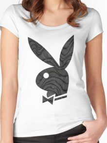 playboy bunny grey pattern Women's Fitted Scoop T-Shirt