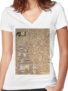 Gustav Klimt - Expectation - Klimt - Women's Fitted V-Neck T-Shirt