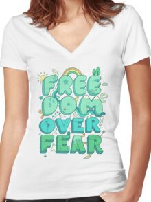 Freedom Over Fear Women's Fitted V-Neck T-Shirt