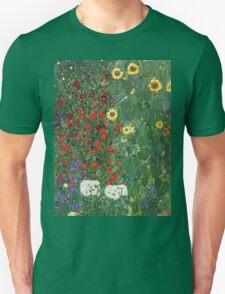 Vintage famous art - Gustav Klimt - Farm Garden With Flowers T-Shirt