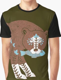 Folk Art Spirit Bear with Fish Graphic T-Shirt