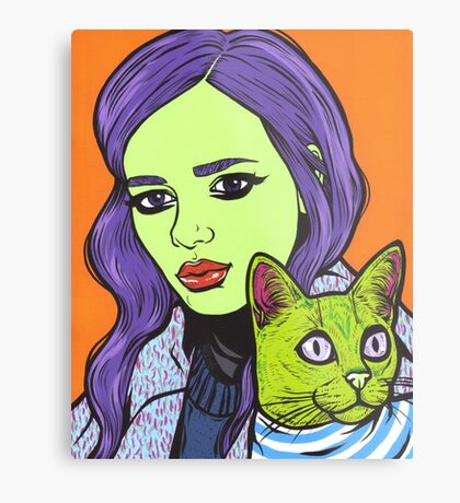 Girl with Cat Metal Print