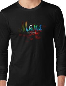 Mother russian word мама, mother's day gift, red hearts design Long Sleeve T-Shirt