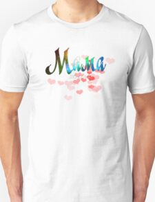 Mother russian word мама, mother's day gift, red hearts design T-Shirt