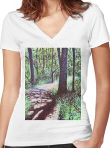 'Sunlight on the Trail' Women's Fitted V-Neck T-Shirt
