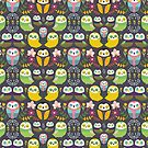 Owls and flowers pattern by mjdaluz