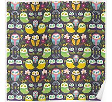 Owls and flowers pattern Poster